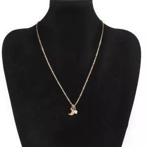 Luna Tiny Moon and Pearl Necklace Gold